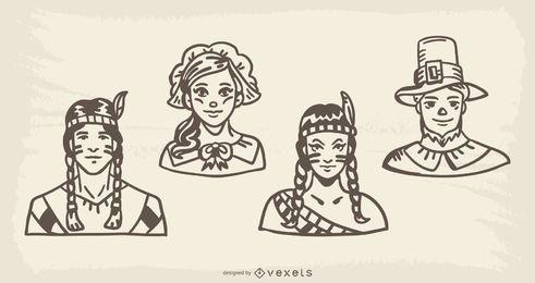 Pacote de ilustração Handdrawn de personagens de ação de graças