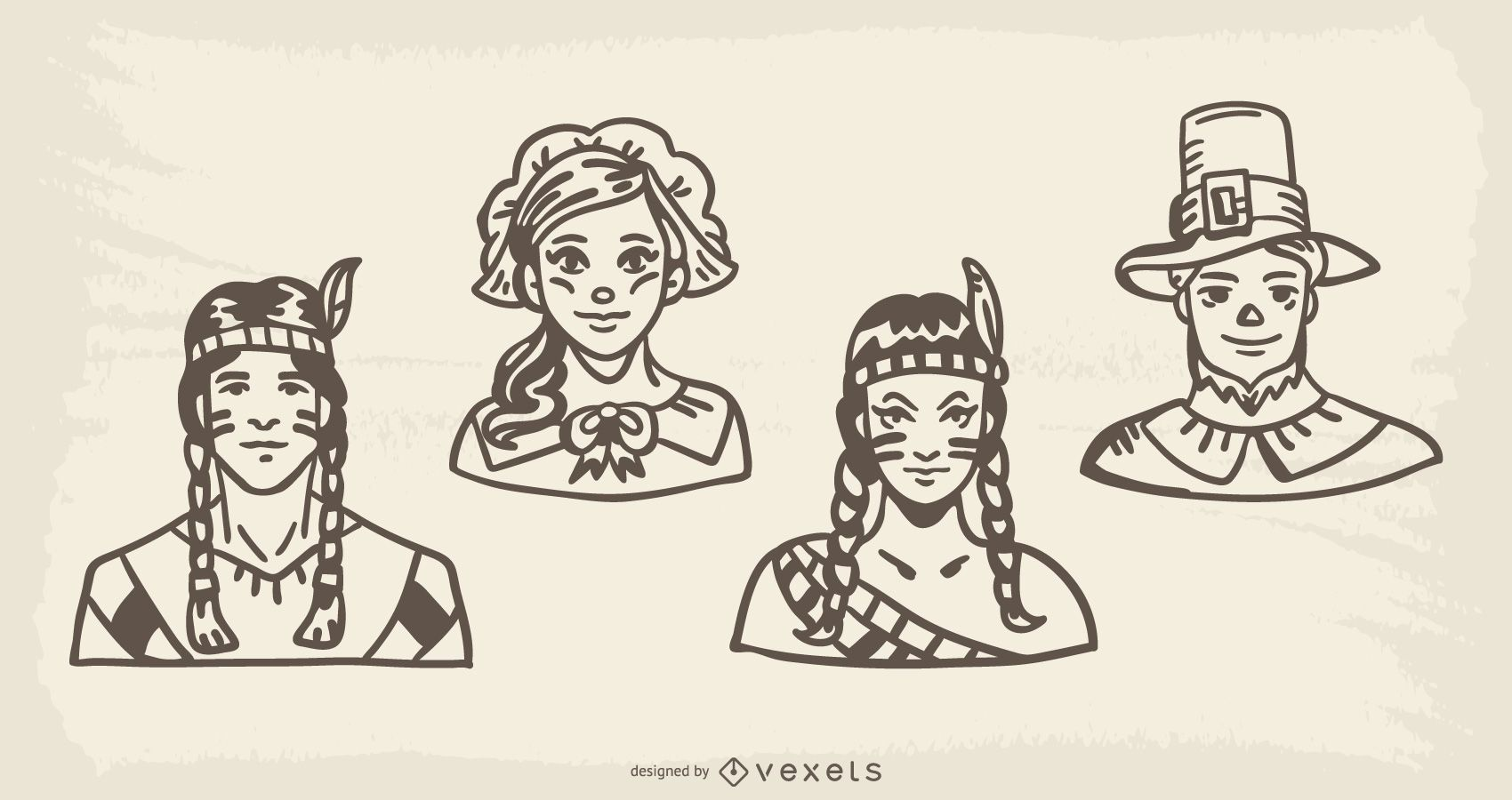 Thanksgiving Characters Handdrawn Illustration Pack
