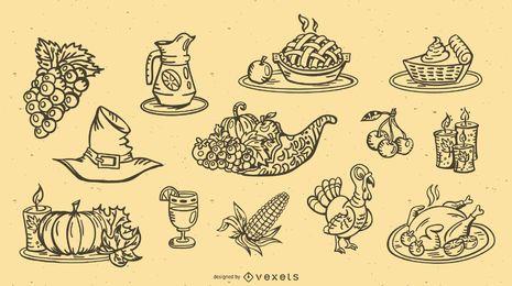 Colección de elementos de diseño de trazo de acción de gracias