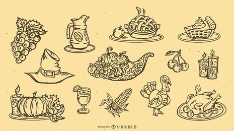 Thanksgiving Stroke Design Elements Collection