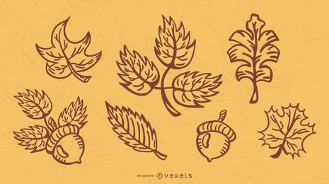 Pacote de ilustração de curso de folhas de outono