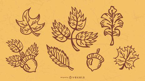 Paquete de ilustración de trazo de hojas de otoño