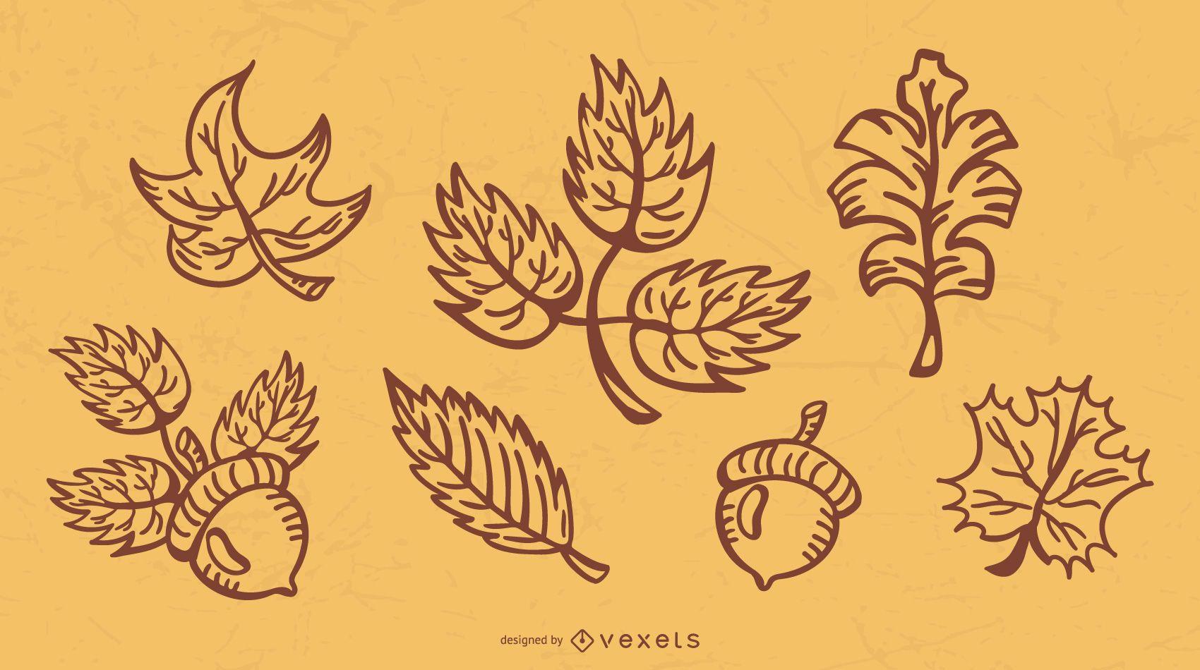 Fall Leaves Stroke Illustration Pack