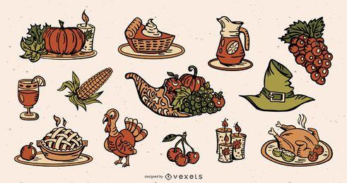 Paquete de ilustración de elementos de colores de acción de gracias
