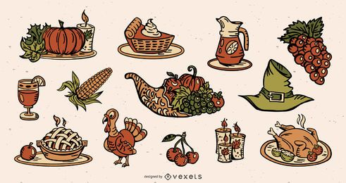 Thanksgiving Colored Elements Illustration Pack
