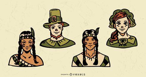 Paquete de ilustraciones de personajes de colores de acción de gracias
