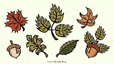 Paquete de ilustraciones coloreadas de hojas de otoño