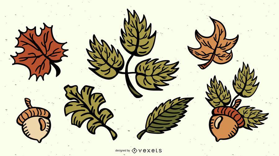 Pacote de ilustração colorida de folhas de outono
