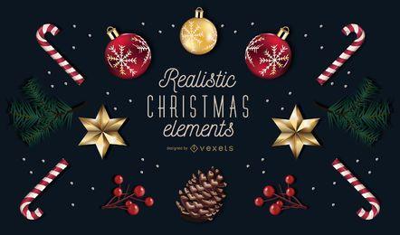 Paquete realista de elementos navideños