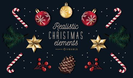Realistische Weihnachten Element Pack