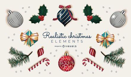 Colección realista de elementos navideños