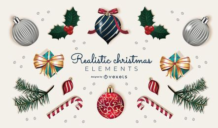 Realistic Christmas Elements Collection