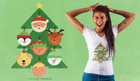 Design de t-shirt de personagens de árvore de Natal