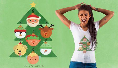 Diseño de camiseta de personajes de árbol de navidad