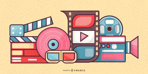 Design de conceito de elementos de cinema