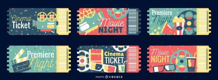 Conjunto de diseño de entradas de cine