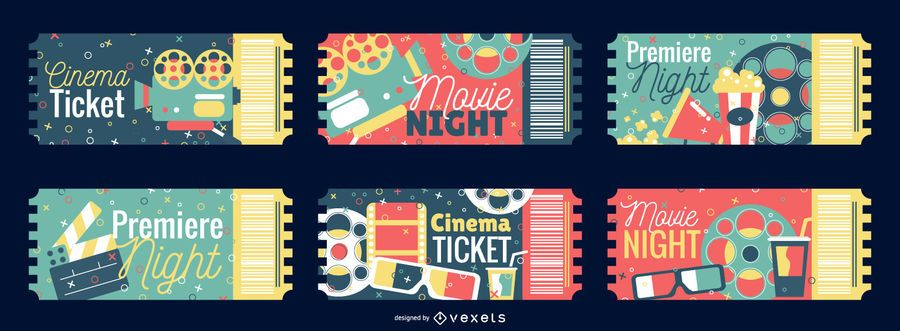 Conjunto de design de bilhetes de cinema