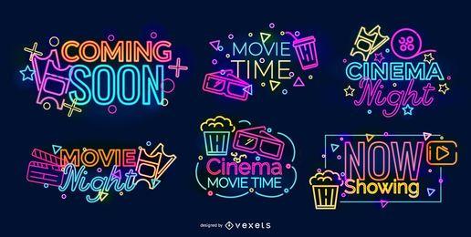 Conjunto de diseño de cine de letrero de neón