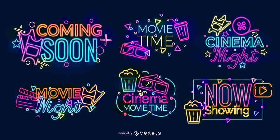 Neon Sign Cinema Design Set