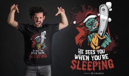 Diseño de camiseta monstruo santa