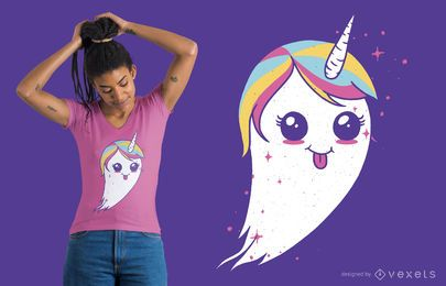 Design de camiseta fantasma de unicórnio