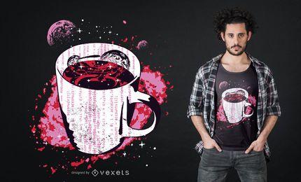 Diseño de camiseta de café espacial