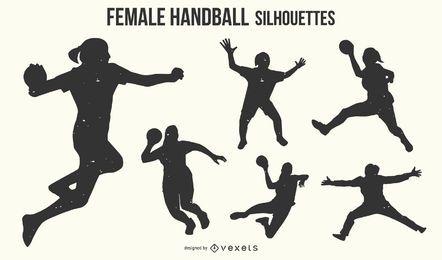 Female handball silhouette set