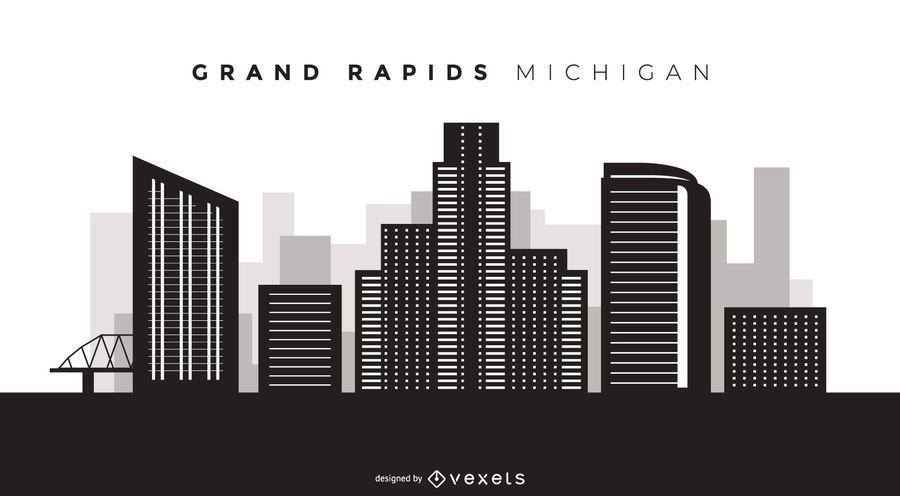 Horizonte de Grand Rapids em Michigan