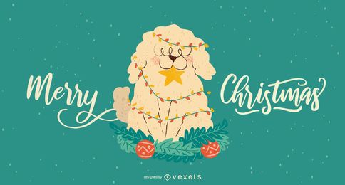 Fluffy dog christmas illustration