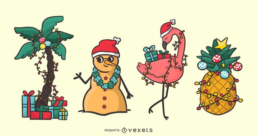 Tropical christmas vector set