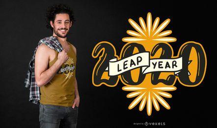 Diseño de camiseta del año bisiesto 2020