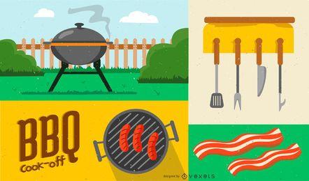 Composição de Design de elementos para churrasco
