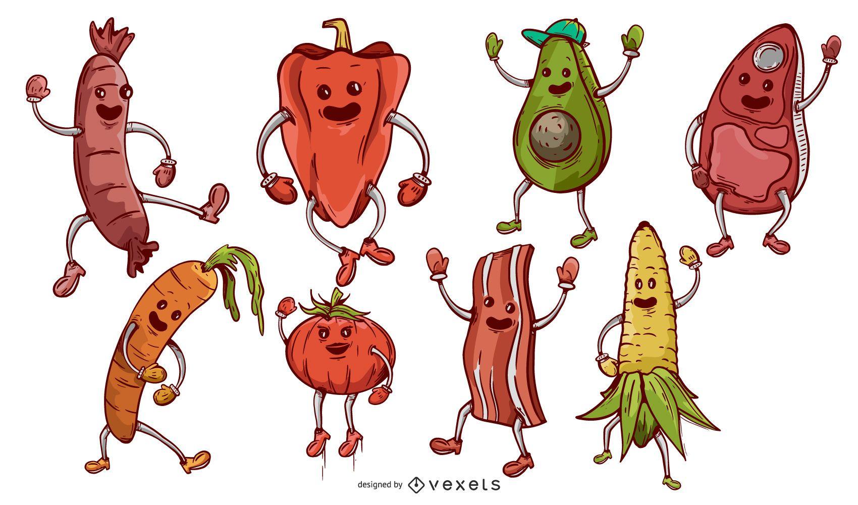 Dibujos animados de comida de barbacoa Elemetns