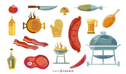 Paquete de elementos de comida de barbacoa