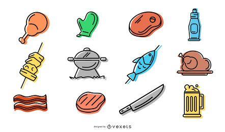 Pacote de ícones de churrasco