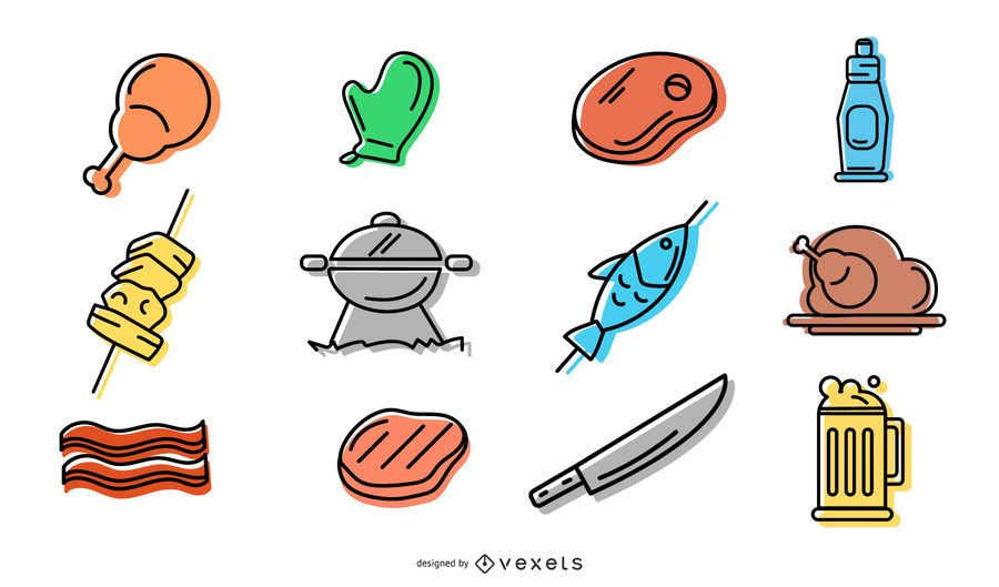Paquete de diseño de iconos de barbacoa