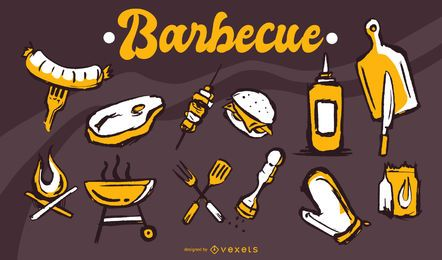 Barbecue Grunge Icon Set