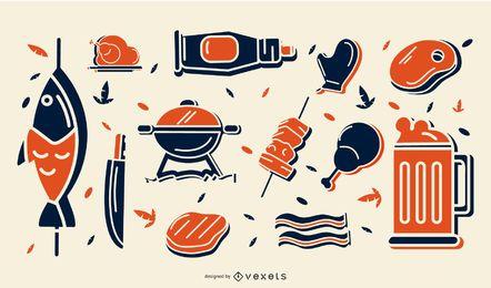 Conjunto de ícones elegantes de churrasco