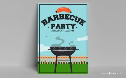 Design de cartaz de festa de churrasco