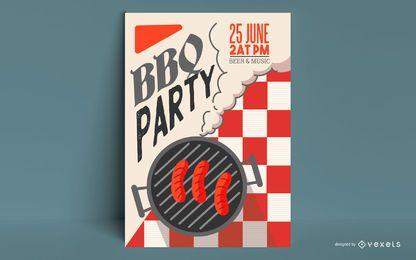 Design de cartaz de festa para churrasco