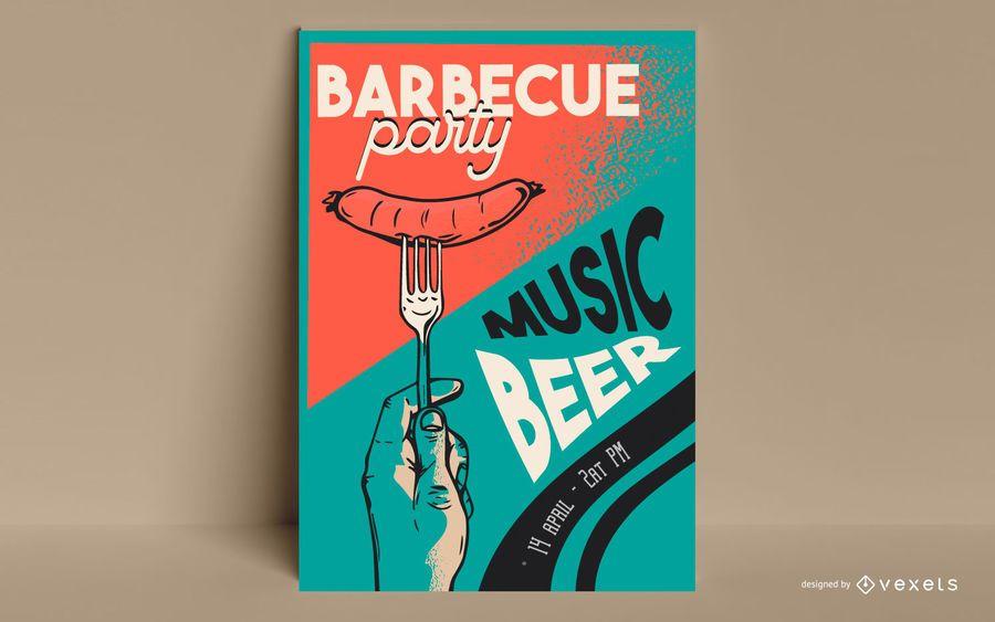 Plantilla de póster de fiesta de barbacoa