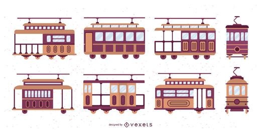 Trolley Car Flat Design Illustration Set