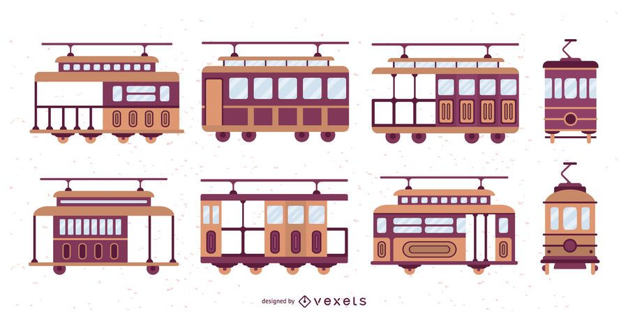 Conjunto de ilustração de Design plano de bonde