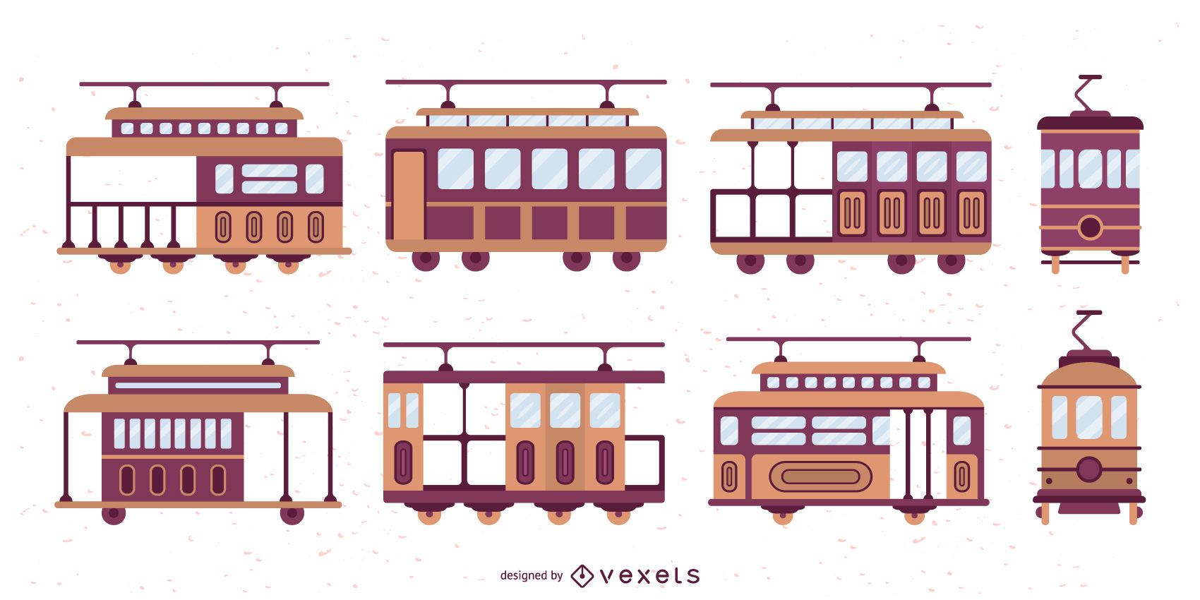 Trolley Car Flat Design Illustration Set