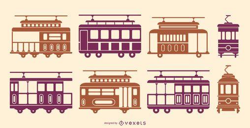 Paquete de silueta de tranvías