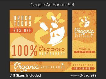 Conjunto de banner de restaurante de comida orgánica