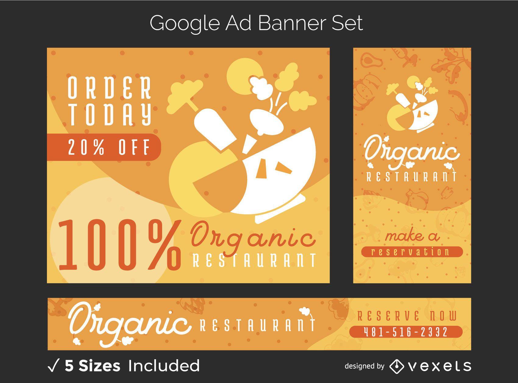 Organic food restaurant banner set