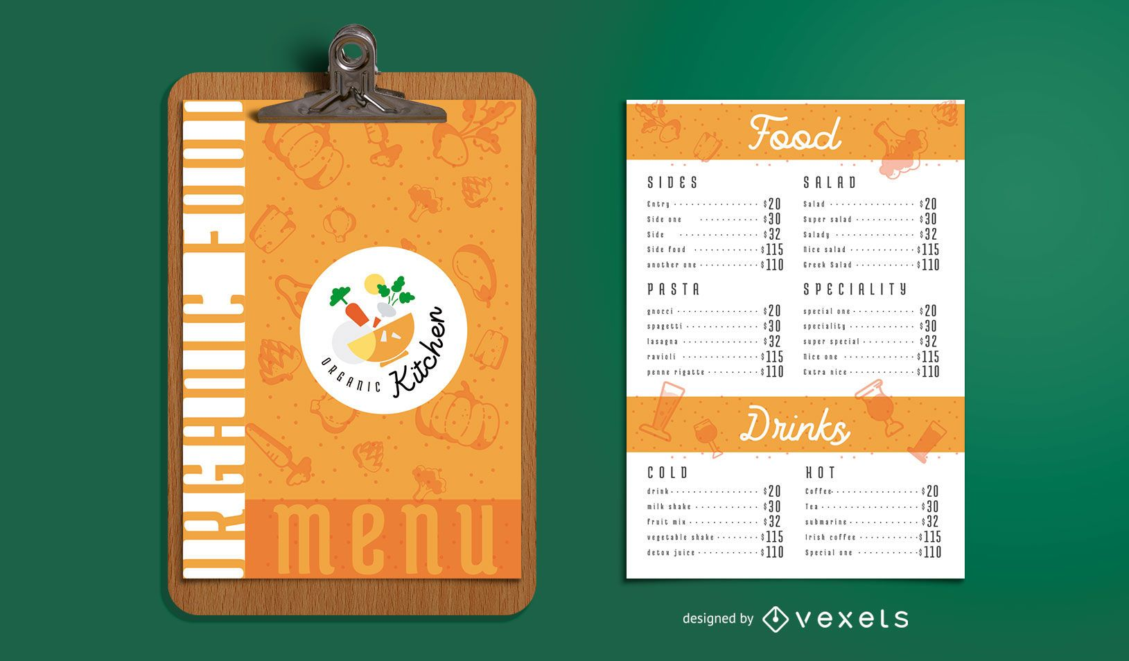 Organic food menu template