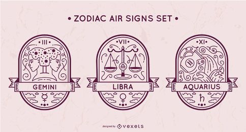 Conjunto de signos de ar do zodíaco
