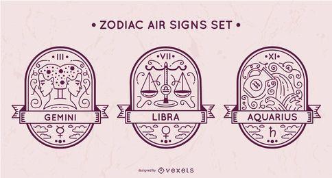 Conjunto de sinais de ar do zodíaco